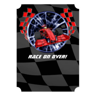 Red race car racing though lightning bolts card