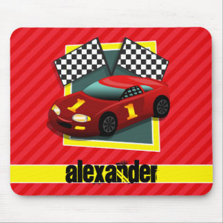Red Race Car; Scarlet Red Stripes Mouse Pad