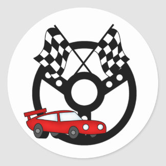 Red Race Car Tshirts and Gifts Classic Round Sticker