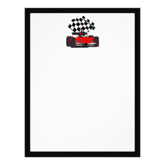 Red Race Car with Checkered Flag 21.5 Cm X 28 Cm Flyer