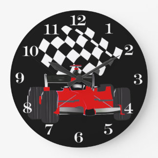 Red Race Car with Checkered Flag Wallclocks