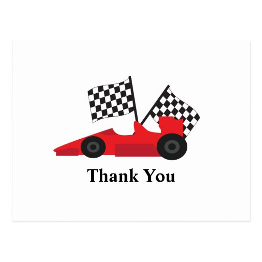 Red Race car with Checkered Flags Post Cards