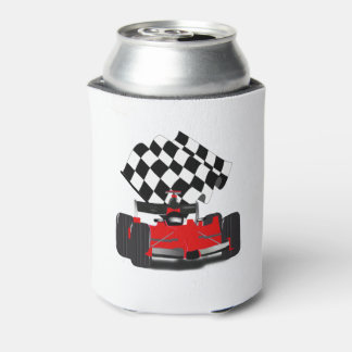 Red Race Car with Chequered Flag Can Cooler