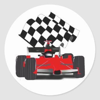 Red Race Car with Chequered Flag Classic Round Sticker