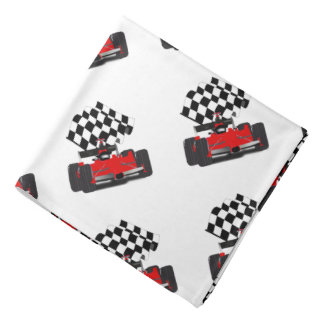 Red Race Car with Chequered Flag Head Kerchief