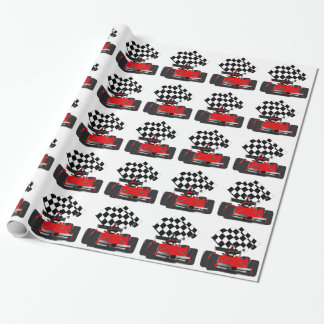 Red Race Car with Chequered Flag Wrapping Paper
