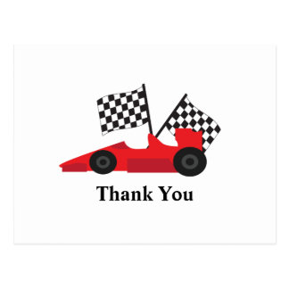 Red Race car with Chequered Flags Post Cards