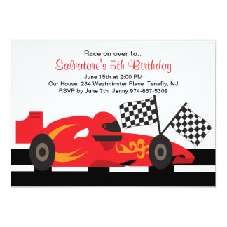 Red Race Car with Flames Boys Birthday Invitation