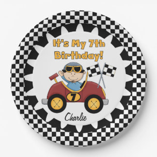 Red Racing Car 7th Birthday Paper Plates 9 Inch Paper Plate