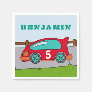 Red Racing Car Birthday Party Paper Napkin
