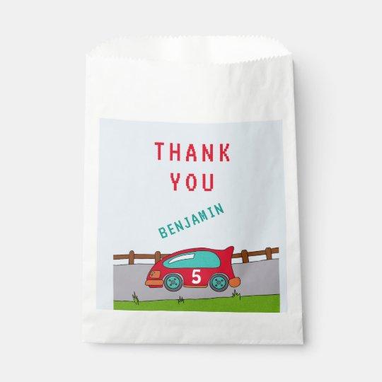 Red Racing Car Thank you Favour Bag