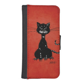 Red Ragged Evil Black Cat iPhone SE/5/5s Wallet Case