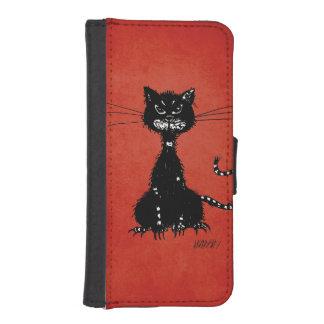 Red Ragged Evil Black Cat Phone Wallet