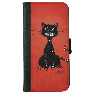 Red Ragged Evil Black Cat iPhone 6 Wallet Case