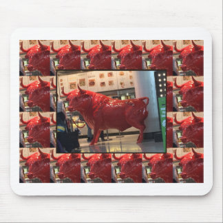 Red Raging Bull Heathrow Airport London England UK Mouse Pad
