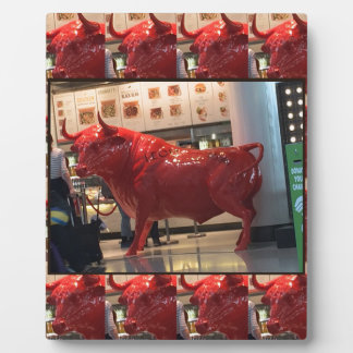 Red Raging Bull Heathrow Airport London England UK Plaques