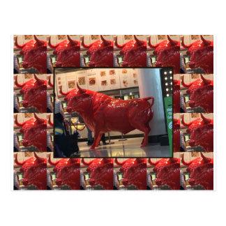 Red Raging Bull Heathrow Airport London England UK Postcard