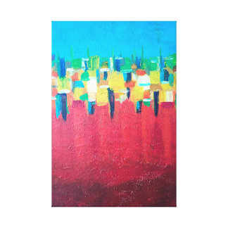 Red Rain abstract painting on canvas