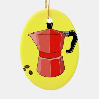 Red Rainbow Espresso Ceramic Ornament