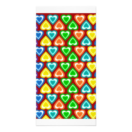 red rainbow hearts pattern personalized photo card