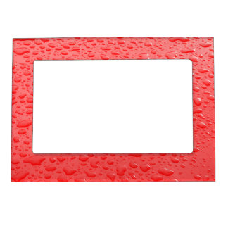 Red Raindrops on Car Magnetic Frame
