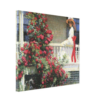 Red Rambling Roses Wrapped Canvas Gallery Wrapped Canvas