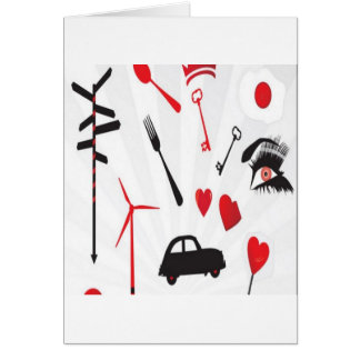 Red random objects design greeting card