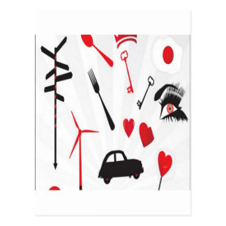 Red random objects design postcard