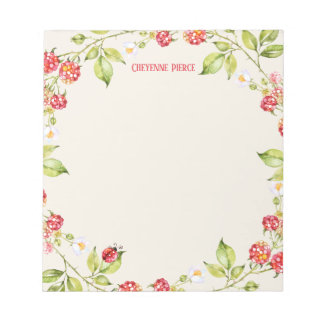 Red Raspberry | Floral Nature Garden Personalized Notepad