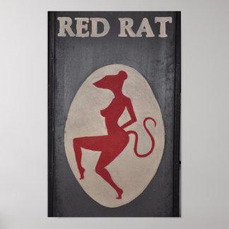 Red Rat Pub Sign Poster