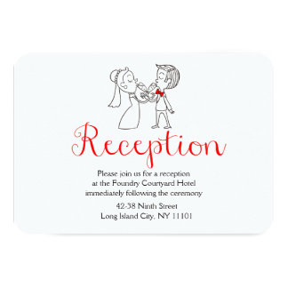 Red Reception Bride & Groom Black & White Wedding 9 Cm X 13 Cm Invitation Card