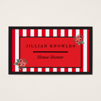 Red Rectangle Stripes Any Color Floral Black Edge Business Card