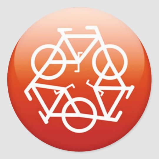 Red recycle symbol classic round sticker