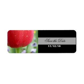 Red Red Tulip Return Address Label