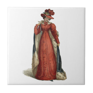 Red Regency Lady Small Square Tile