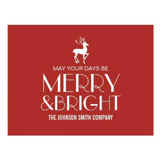 Red Reindeer Christmas Business Post Cards