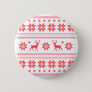 Red Reindeer North Pole Ugly Knit Sweater Button