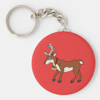 Red Reindeer with Jingle Bells & Christmas Holly Basic Round Button Key Ring