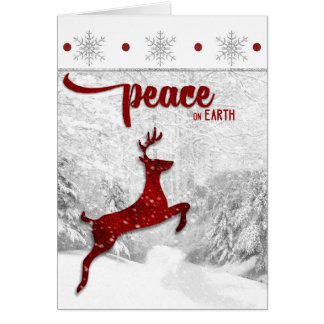 Red Reineer Woodland Snowscape Peace on Earth Greeting Card