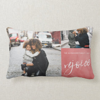 Red Rejoice and Be Glad Four Photo Christmas Lumbar Cushion