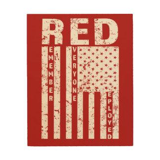 RED Remember Everyone Deployed Flag mens wood art