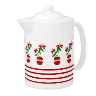 Red Repeated Craft Flowers Medium Teapot