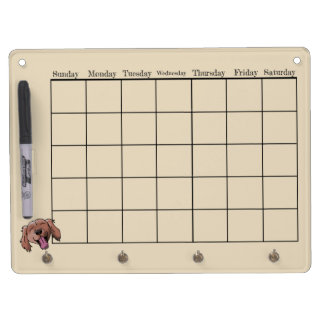 Red Retriever Calendar Dry Erase Board With Key Ring Holder