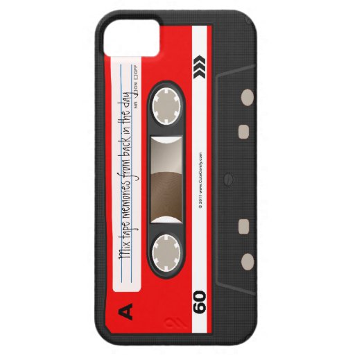 Red Retro Cassette Tape Personalized Case iPhone 5 Cover