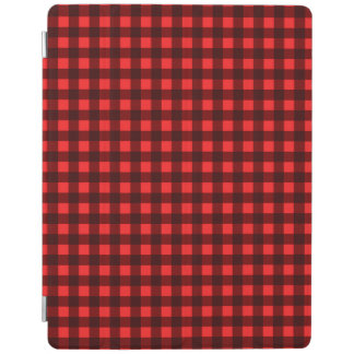 Red Retro Christmas Holiday Tartan Plaid iPad Cover