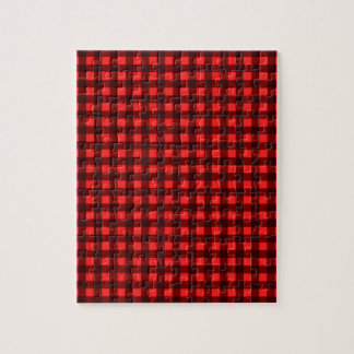 Red Retro Christmas Holiday Tartan Plaid Jigsaw Puzzle