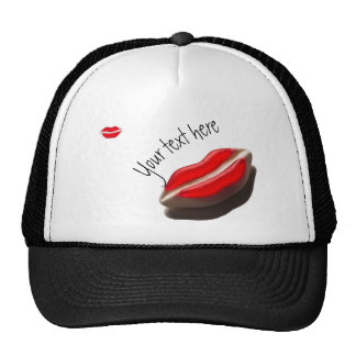 Red Retro Look Mouth Pattern Cap