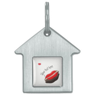 Red Retro Look Mouth Pet ID Tag