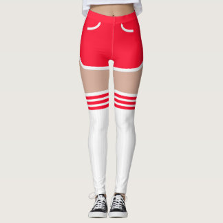 Red Retro Shorts OTK Tube Socks Leggings