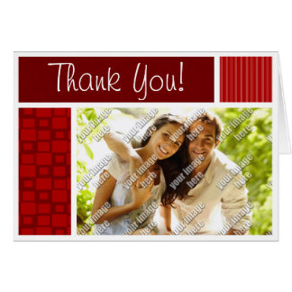 Red Retro Squares Note Card